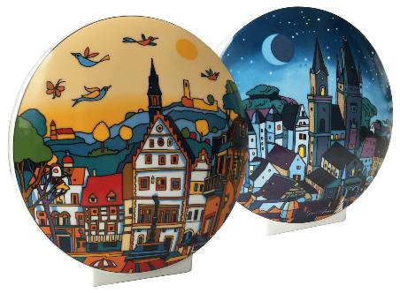"""Vase Weinheim 2016, zweiseitiges Dekor """"Day & Night"""", Höhe 12 cm, Kaiser Porzellan"""